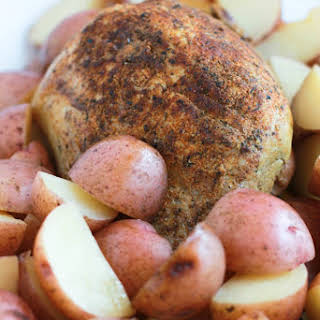 Slow Cooker Pork Sirloin Tip Roast with Red Potatoes.