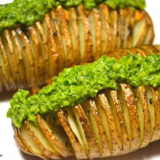 Hasselback Potatoes with Macadamia Nut Pesto