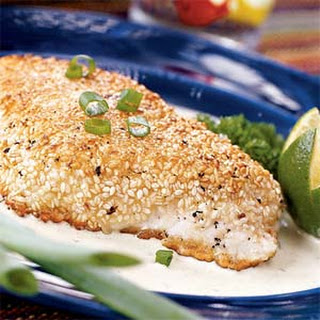Sesame-crusted Halibut with Poblano Cream Sauce.