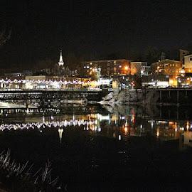 Bridge Over the LaHave by Lena Arkell - City,  Street & Park  Night ( water, lights, reflection, canada, night, bridge, black, city, river,  )