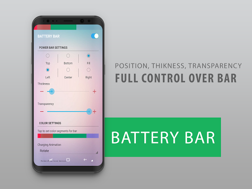 Battery Bar : Energy Bars on Status bar v2.4