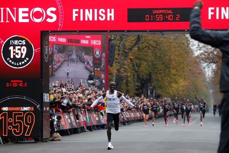 Eliud Kipchoge, the marathon world record holder, runs during his attempt to run a marathon in under two hours in Vienna, Austria, October 12, 2019.