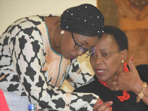 Health Cabinet Secretary Sicily Kariuki and National Assembly Health committee chairperson Sabina Chege when the CS briefed MPs and Senators on the new UHC package in Nairobi last year.