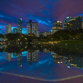 From KLCC by Shahrin Ayob - Buildings & Architecture Office Buildings & Hotels ( klcc, reflection, malaysia, blue hour, building, tower )