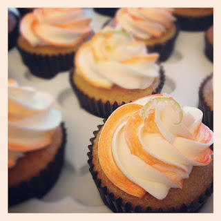 Mango Cupcakes With Lime Curd And Honey Mango Buttercream.