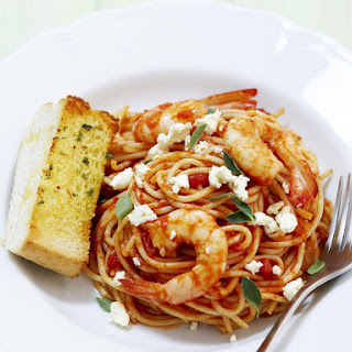 Spaghetti with Shrimp, Tomatoes and Feta.