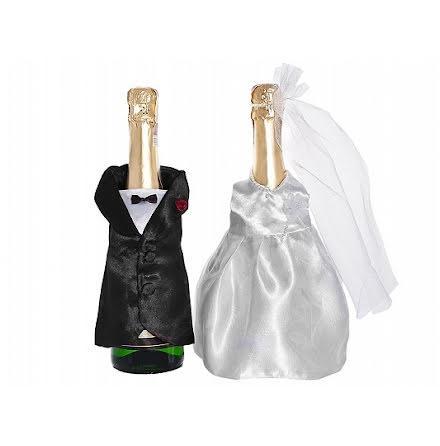 Bröllopskläder till champagneflaska