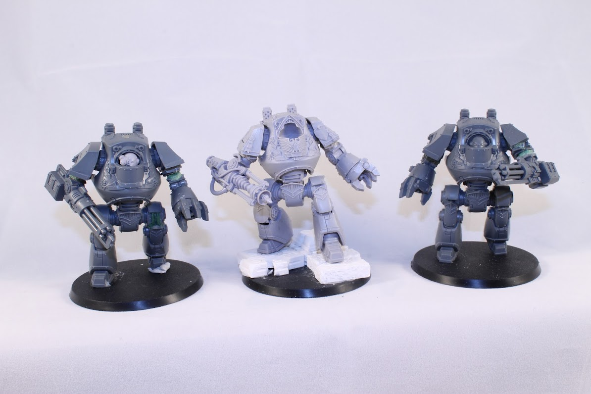 Three Contemptor Dreadnoughts, different weapon options