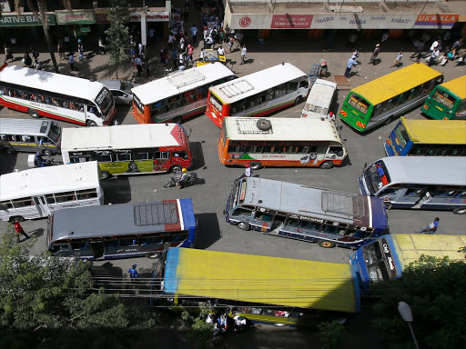 Matatus seen along Tom Mboya Avenue in Nairobi on March 30, 2016. The stakeholders in the Matatu sector reacted angrily to the the passed Motion by the county Government to see all public service vehicles banned from the city centre in an effort to decongest the city. Photo/Jack Owuor
