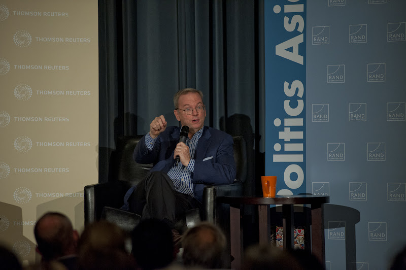 """Photo: Eric Schmidt makes a point while discussing """"The New Digital Age"""" Thursday, Nov. 15, 2012 at the RAND Politics Aside event in Culver City."""