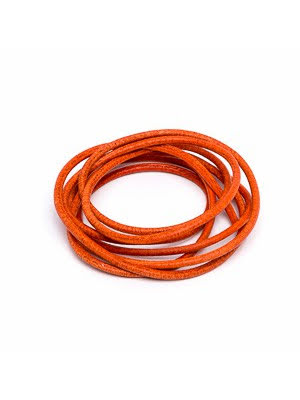 Läderrem orange 1 m 1,3 mm tjock