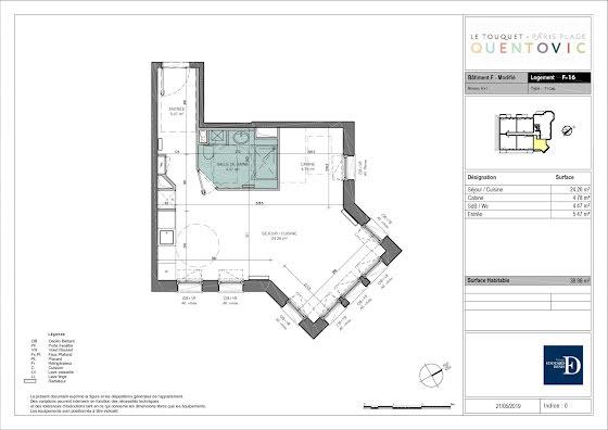 Vente studio 38,98 m2