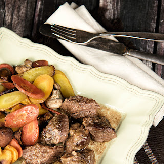 Beef Cubes With Roasted Carrots And Mushrooms.