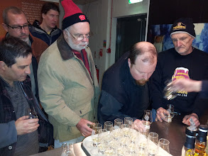 Photo: Dan, Jim, Lee, Bob, Russ and Ed prepare for some tasting samples at Tullibardine.