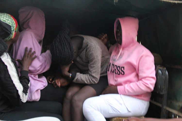 Some of the 35 girls and boys aged between 13 and 17 years in a police vehicle at Sango estate in Homa Bay town on July 3,2020