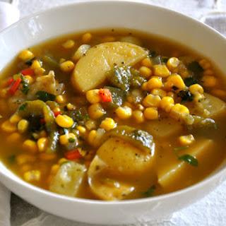Roasted Poblano, Potato and Corn Soup