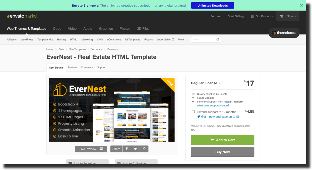 Evernest template