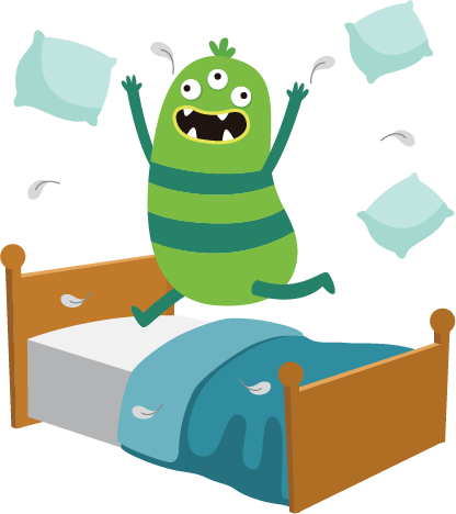 Stress monster jumping on bed
