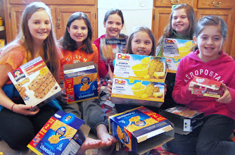 Photo: Olivia, Katerina, Kylee, Emily, Ava & Chloe breaking down the boxes after packing. March 2013.