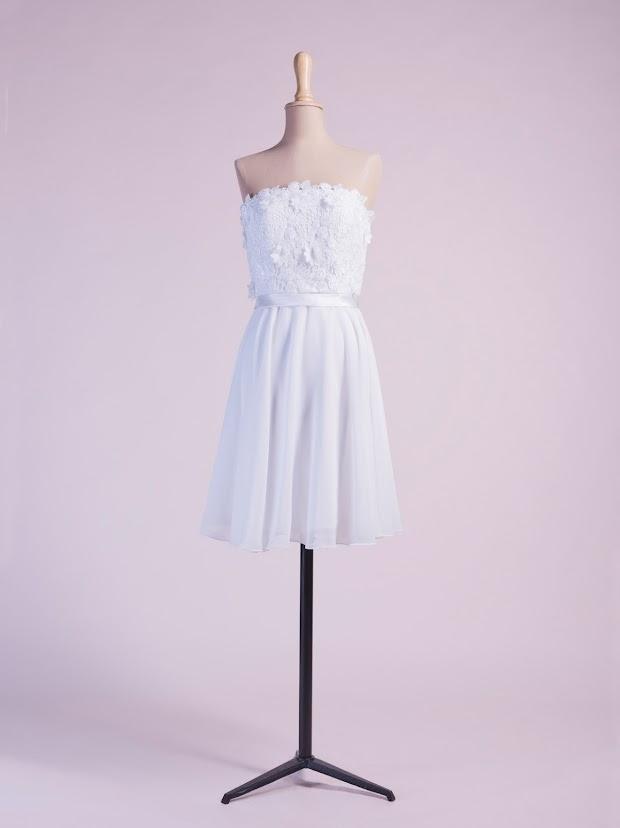 Robe de mariage civil Clothilde, robe de mariée courte, robe du lendemain du mariage en dentelle