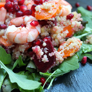 Honey Roasted Carrot, Beetroot, Prawn And Quinoa Salad