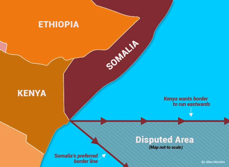 Map showing disputed maritime area.