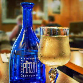 Wine and Water by T Sco - Food & Drink Alcohol & Drinks ( wine glass, glass, lunch, drinking, h2o, bottle, eating, water, dinner, drink, glasses, restaraunt, eat, wine, table,  )