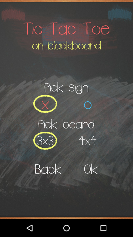 Tic Tac Toe on blackboard- screenshot