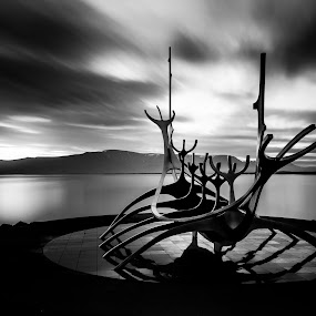 The Sun Voyager by Ruslan Stepanov - Black & White Landscapes ( clouds, mountains, iceland, the sun voyager, black and white, ocean, long exposure, sunrise )