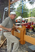 Photo: Paul Simon giving the pole lathe a good workout