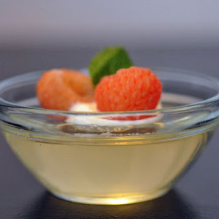 Champagne Jelly with Golden Raspberries and Mint.