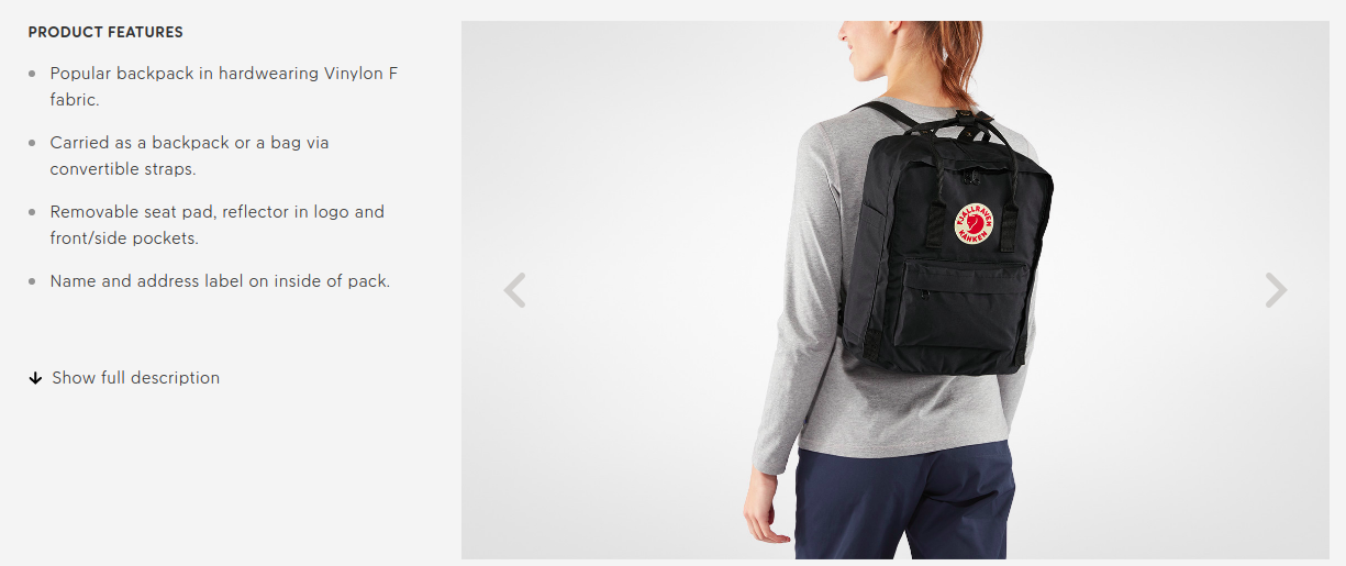 Fjallraven product copy example 3