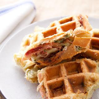 Savory Mortadella, Garlic, and Caper Puff-Pastry Waffle.