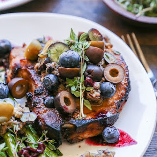 Maple Balsamic Pork Chops with Blueberry Olive Tapenade Recipe