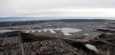 Photo: Lake Hood was still frozen but not enough for ski planes. So it was closed for both seaplanes and ski planes.