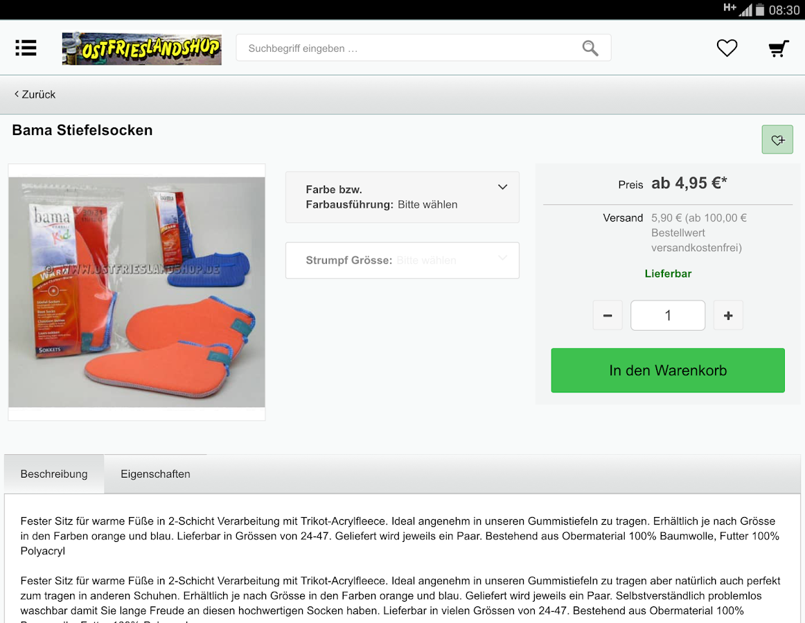 Ostfrieslandshop- screenshot