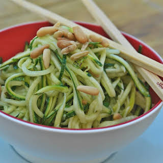 Zucchini Salad with Mint and Basil Oil.