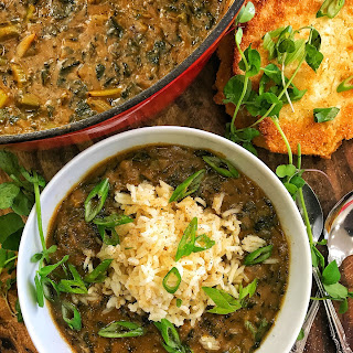 Collard Green Gumbo & Hot Water Cornbread.