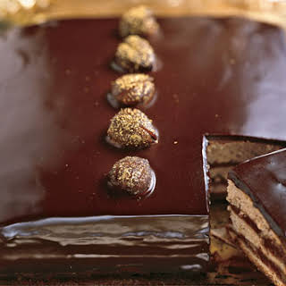 Dark Chocolate-Caramel Cake with Gold-Dusted Chestnuts.