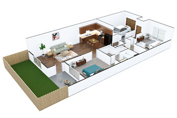 Go to Two Bed, Two Bath Townhouse with Garage Floorplan page.