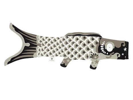 Vimpel 'Koi' grå 100 cm