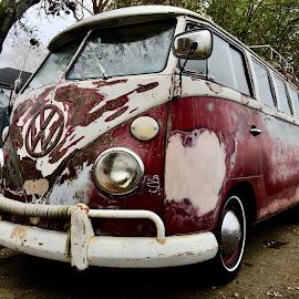 Hippie Happiness by Barbara Brock - Transportation Other ( vintage van, hippie van, old van, classic volkswagen van, beat up van )