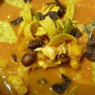 Slow Cooker Easy Creamy Chicken Enchilada Soup.