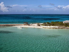 """Photo: Last view looking east across The Narrows, Man-O-War Cay, one of our favourite anchorages in Bahamas. From here is a 20 min walk to the picturesque village (""""settlement"""")."""