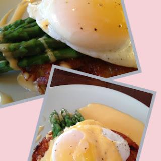Potato and Bacon Rosti, Asparagus, Duck Egg and Hollandaise.