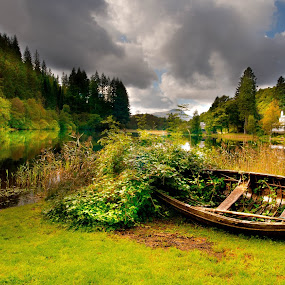 by Andrew Percival - Landscapes Waterscapes ( clouds, scotland, sky, autumn, colorful, trees, pier, forest, lake, landscape, boat )