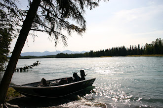 Photo: A beautiful fall day in Super hole on the middle Kenai river. Alaska Drift Fishing uses 20 ft power to fly fish for rainbow trout.