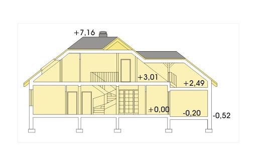 Akacja II wersja B z pojedynczym garażem - Przekrój