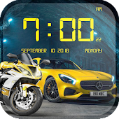 Cars and Bikes Clock Live Wallpaper HD