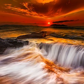 Serabut Ombak di ujung Sunset by Dany Fachry - Landscapes Beaches